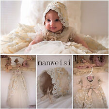 Hot Toddler Baby Baptism Christening Gown Lace Crystals Dresses Bonnet Custom