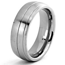 8mm Titanium Ring Wedding Band Dome Brush Top Double Grooved