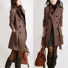 Double-breasted Women Coat Winter Slim Trench Parka Coat Jacket Outerwear
