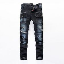 New Mens Slim Cargo Straight Destroyed Ripped Skinny Casual Pants Jeans Trousers