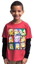 Minions Squares Youth Boys Long Sleeve Tee Shirt