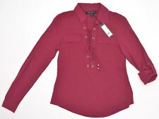 Romeo & Juliet Couture Long Sleeve Roll-Tab 1/2 Lace Tie Boho Top Berry NEW 6348