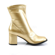 "Funtasma 3"" Block Heel Matte Gold Stretch Ankle Boots GoGo Disco Cosplay 6-12"