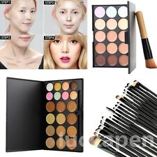15 Colors  Makeup Facial Concealer Camouflage Cream Palette Cosmetic & Brush Lot