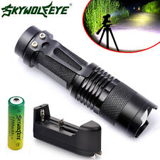 2000LM CREE Q5 LED Zoom Mini Flashlight Focus Torch Light+14500 Battery+Charger