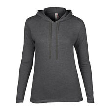 Women's Lightweight Long Sleeve Hooded T-Shirt Anvil Ladies Hoodie Heather Grey