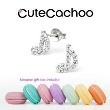 Sterling silver crystal Musical note stud earrings + macaron gift box!