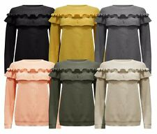 WOMENS LADIES STRETCH LONG SLEEVE FRILL DETAIL RUFFLE CHUNKY KNITTED JUMPER TOP