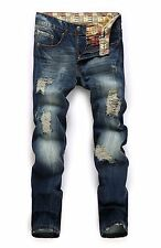 Mens Jeans Ripped Slim Autumn Newest Stylish Denim Pants Personalized Trousers