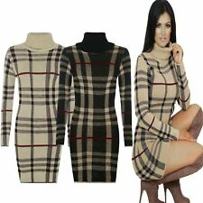WOMENS LADIES TARTAN CHECK KNITTED LONG SLEEVE POLO ROLL NECK JUMPER DRESS TUNIC