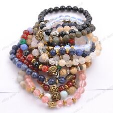 Wholesale 8MM Natural Gemstone Round FACETED Beads  Lion Head Stretchy Bracelets