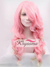 Women's Long Wavy Synthetic Hair Lace Front Wigs Highlights Blonde Heat Safe Wig