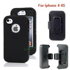 New For Apple Iphone 4/4s Defender BLACK Case Cover [Belt Clip Fits Otterbox]