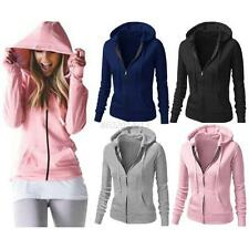 Plain Hoodie Hooded Zip Zipper Women Ladies Top Sweat Shirt Jacket Coat Sweater