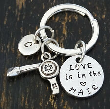 Love is in the Hair Keychain, Blow Dryer Charm, Hairdresser Gift, PERSONALIZED