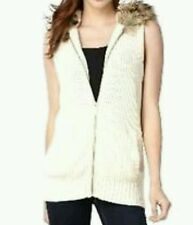 NEW! MICHAEL Michael Kors Sleeveless Faux Fur Hood Knit Sweater Vest Women's XL