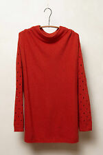 Anthropologie Ceres Pullover Size M, Orange Mock Turtleneck Sweater Top By Moth