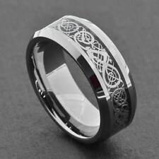 8mm Tungsten Silver Dragon Celtic Scroll Inlay Ring Men's Wedding Band