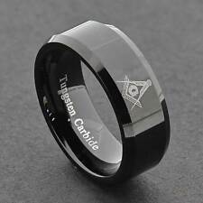 Men's Tungsten Ring Black Freemason Masonic Jewelry Wedding Band