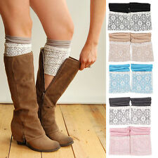 New Women Crochet Knitted Lace Trim Boot Cuffs Toppers Leg Warmers Winter Socks