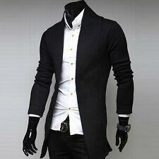 Autumn Winter Mens Cardigan Sweaters Casual Cotton Solid V Neck Jacket IB