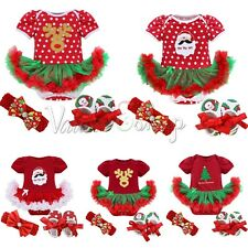 My First Christmas Tree Santa Jumpsuit Girls Tutu Outfit Baby Dress Clothes 0-9M