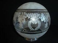 ROUND ETCHED HEAVY GLASS OIL LAMPSHADE