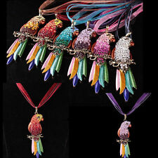 Crystal Rhinestone Colorful Sweater Chain Parrot Full Pendant Necklace Animal