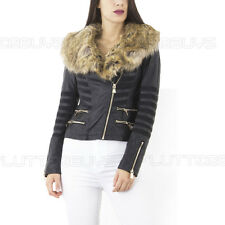 Biker Jacket  Faux Leather Detachable  Fur Collar Zip Up Womens Ladies Size  ❤