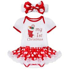 2PCS Newborn Infant Baby Girl Romper Bodysuit Tutu Dress Headband Outfit Costume