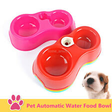 Plastic Pet Dog Cat Puppy Automatic Water Dispenser Food Dish Bowl Bottle Feeder