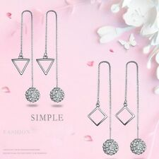 925 Sterling Silver Crystal Ball Triangle Square Rhombus Long Ear Stud Earrings