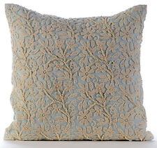 """Blue Cotton Linen 12""""x12"""" Pearls & Crochet Lace Pillows Cover - Floral Jaal"""