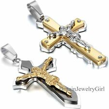 Men's Gold Silver Tone Stainless Steel Jesus Christ Cross Pendant Necklace Chain