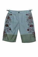 DA-NANG $150 NWT Blue-Red Silver Floral Imprint Silk Bermuda Shorts Women