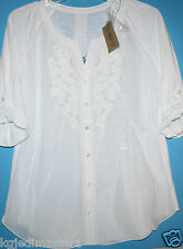 Nine West Vintage America NWT Women XL Ivory Tab Sleeve Blouse Top Shirt
