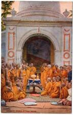 1923 BUDDHIST Priests at their Shrine COLOMBO   Postcard