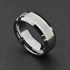 Tungsten Carbide 8MM Satin/Shinny Stripe Bevel Edges Men's Wedding