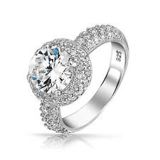Bling Jewelry 2ct CZ Round Pave Band 925 Sterling Silver Engagement Ring