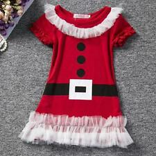 Hot Santa Claus Baby Girls Lace Ruffles Gown Party Dress