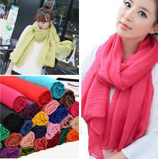 New Fashion Womens Long Big Crinkle Voile Soft Scarf Wrap Shawl Stole Scarf