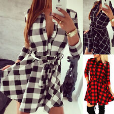 Womens Plaid Check Romper Skirt Dress Tartan Tops Blouse Shirt Mini Skater Dress