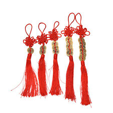 Chinese Feng Shui Protection Fortune Lucky Charm Red Tassel String Tied Coins SP