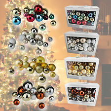 86 CHRISTMAS TREE SHATTERPROOF BAUBLES DECORATIONS COLOURED XMAS HOLIDAY DECOR