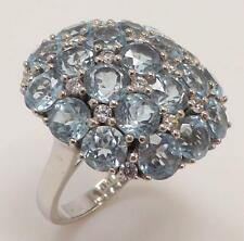 925 STERLING SILVER GENUINE BLUE & WHITE TOPAZ CLUSTER LADIES RING SIZE 9 RT7