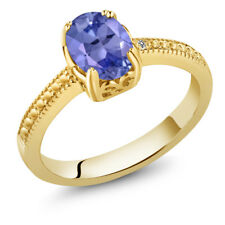 1.17 Ct Oval Blue Tanzanite White Diamond 18K Yellow Gold Plated Silver Ring