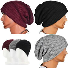 Chic Men Women Winter Knit Ski Beanie Skull Slouchy Oversize Cap Hat Unisex AL