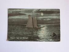 OLD PC NIGHT SCENE SAILING YACHT ON WATER, MOONLIGHT, UNKNOWN PLACE