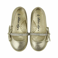 NEW Flower Girls Shoes Flat Leather Wedding Shoes approx5-10Yr Gold Rhinestones