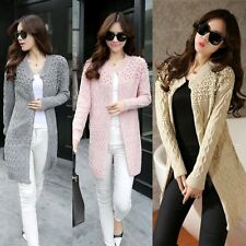 Women Long Sleeve Knitted Pearl Decor Sweater Casual Long Cardigan Outwear